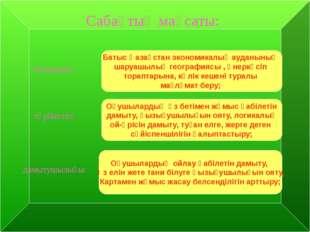 Сабақтың мақсаты: білімділігі: Батыс Қазақстан экономикалық ауданының шаруаш
