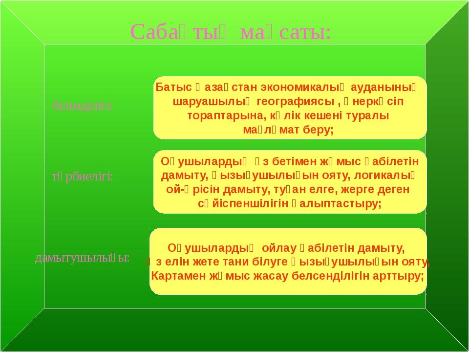 Сабақтың мақсаты: білімділігі: Батыс Қазақстан экономикалық ауданының шаруаш...
