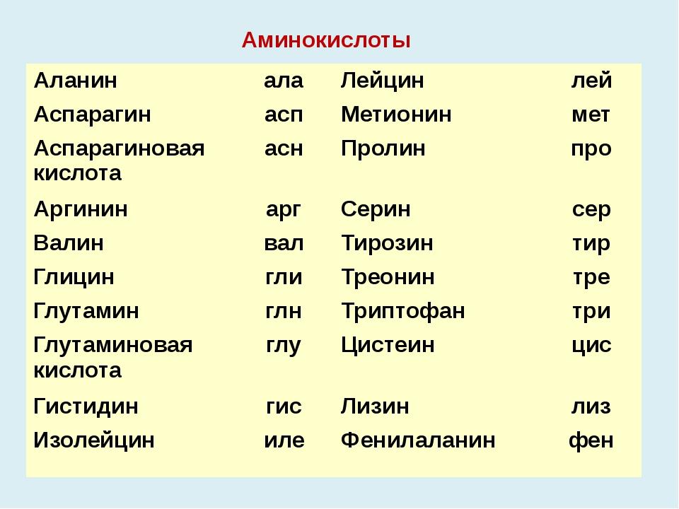 Аминокислоты Аланин ала Лейцин лей Аспарагин асп Метионин мет Аспарагиновая к...