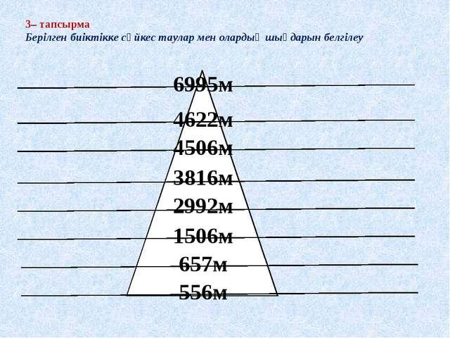 3– тапсырма Берілген биіктікке сәйкес таулар мен олардың шыңдарын белгілеу 55...