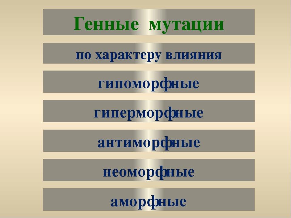 Генные мутации гипоморфные гиперморфные по характеру влияния антиморфные неом...
