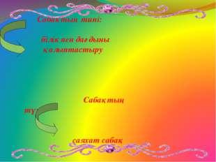 Сабақтың типі: білік пен дағдыны қалыптастыру Сабақтың түрі: саяхат сабақ