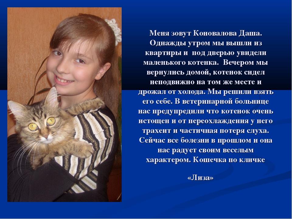 Меня зовут Коновалова Даша. Однажды утром мы вышли из квартиры и под дверью у...
