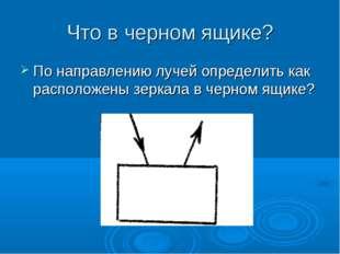 Что в черном ящике? По направлению лучей определить как расположены зеркала в
