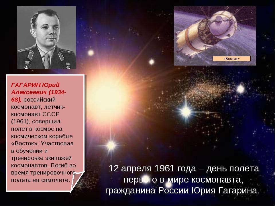 12 апреля 1961 года – день полета первого в мире космонавта, гражданина Росси...