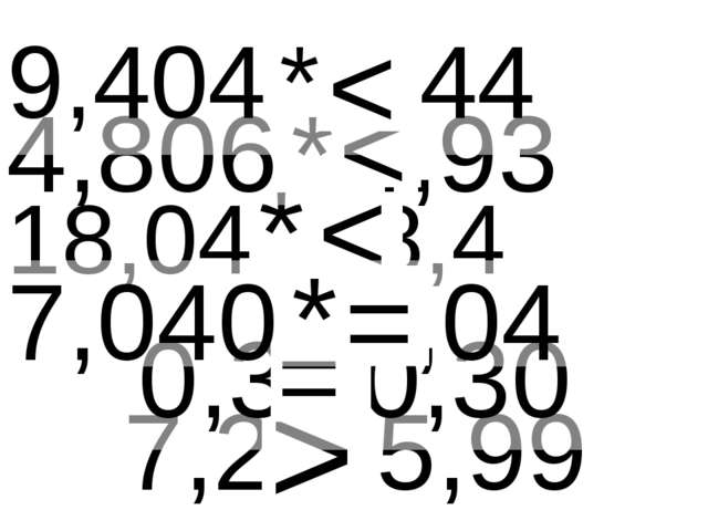 7,2 * 5,99 > 18,04 * 18,4 < 0,3 *0,30 = 4,806 * 4,93 < 9,404 * 9,44 < 7,040 *...