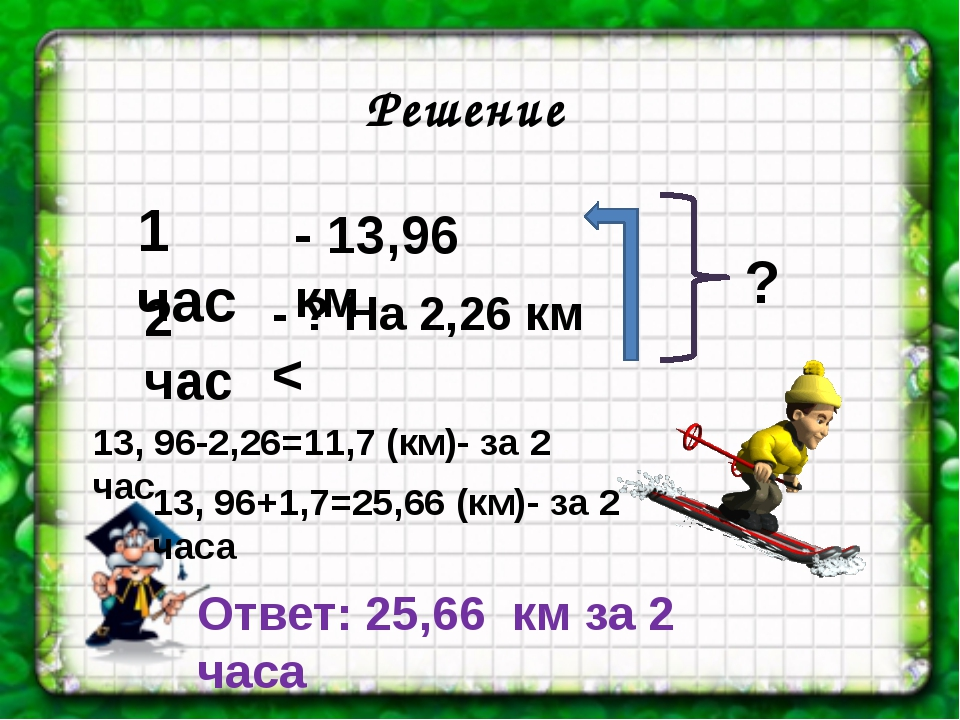 1 час 2 час Решение - 13,96 км - ? На 2,26 км < 13, 96-2,26=11,7 (км)- за 2 ч...