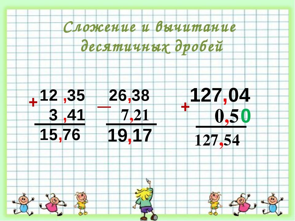 12 ,35 3 ,41 15,76 26,38 7,21 + 127,04 0,5 19,17 127,54 0 Сложение и вычитани...