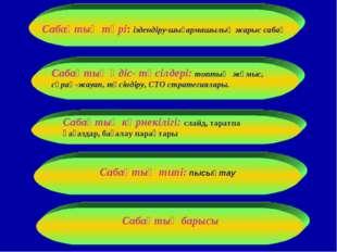Сабақтың түрі: іздендіру-шығармашылық жарыс сабақ Сабақтың типі:пысықтау Саб