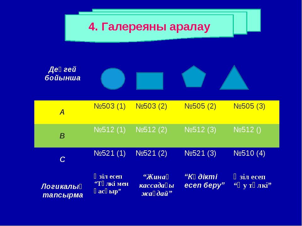 4. Галереяны аралау Деңгей бойынша А№503 (1)№503 (2)№505 (2)№505 (3)...