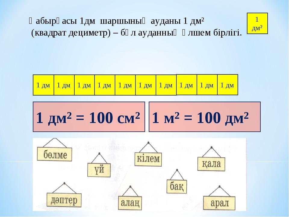 Қабырғасы 1дм шаршының ауданы 1 дм² (квадрат дециметр) – бұл ауданның өлшем б...