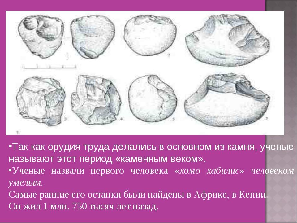 Так как орудия труда делались в основном из камня, ученые называют этот пери...