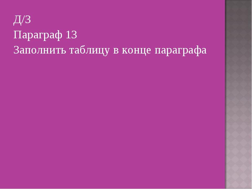Д/З Параграф 13 Заполнить таблицу в конце параграфа