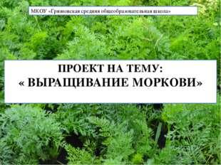 ПРОЕКТ НА ТЕМУ: « ВЫРАЩИВАНИЕ МОРКОВИ» МКОУ «Грязновская средняя общеобразов