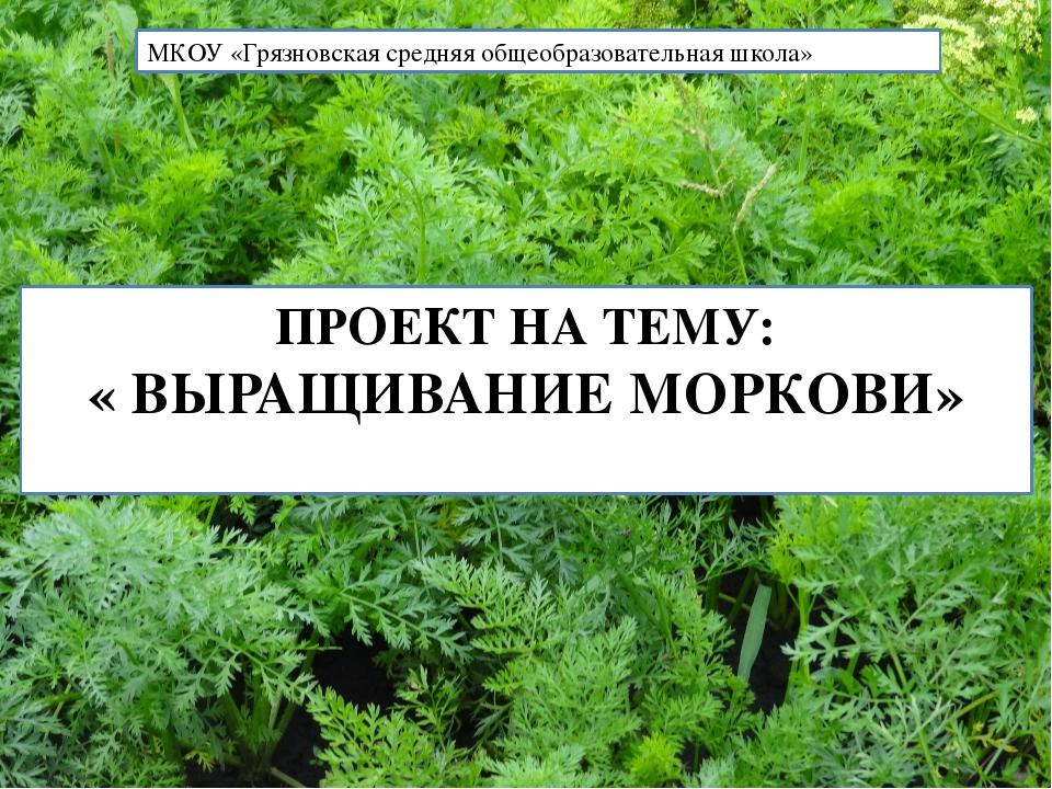 ПРОЕКТ НА ТЕМУ: « ВЫРАЩИВАНИЕ МОРКОВИ» МКОУ «Грязновская средняя общеобразов...