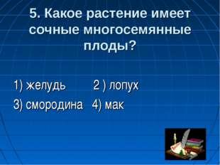 5. Какое растение имеет сочные многосемянные плоды? 1) желудь 2 ) лопух 3) с