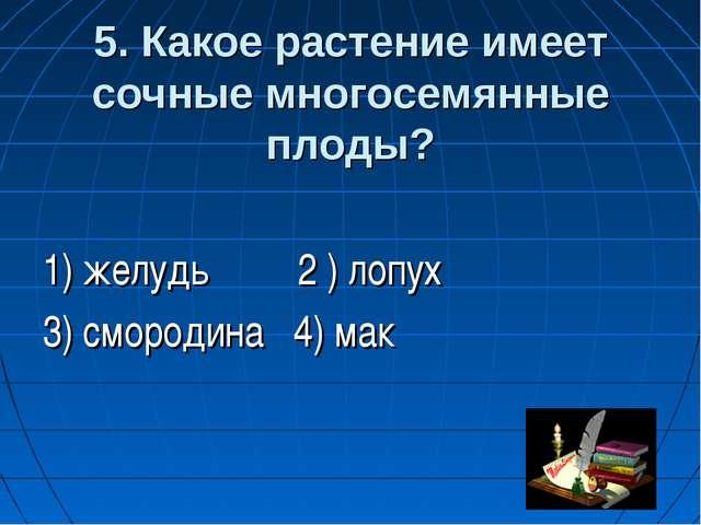 5. Какое растение имеет сочные многосемянные плоды? 1) желудь 2 ) лопух 3) с...