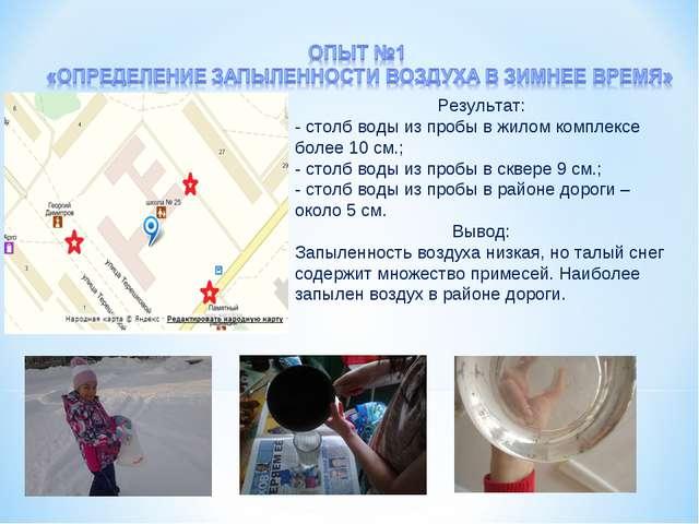 Результат: - столб воды из пробы в жилом комплексе более 10 см.; - столб воды...