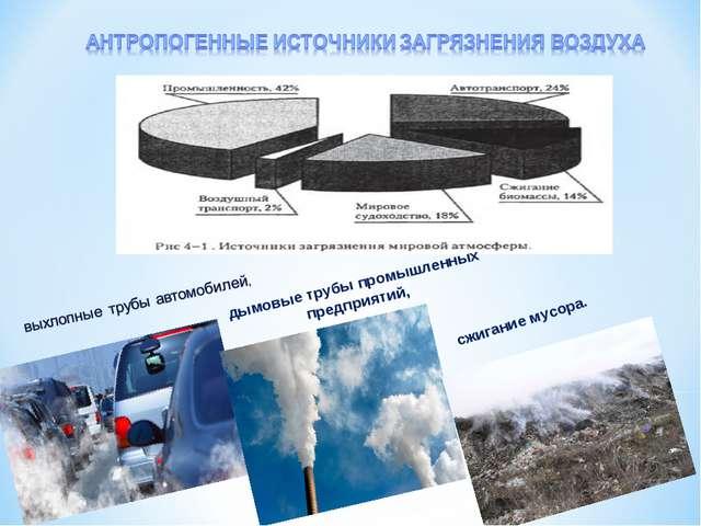 дымовые трубы промышленных предприятий, сжигание мусора.
