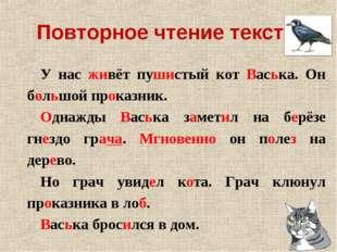 Повторное чтение текста. У нас живёт пушистый кот Васька. Он большой проказни