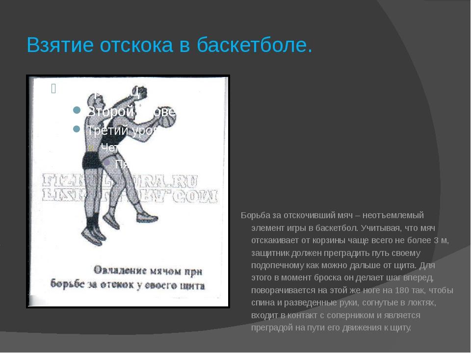 Взятие отскока в баскетболе. Борьба за отскочивший мяч – неотъемлемый элемент...