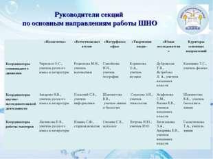 Руководители секций по основным направлениям работы ШНО «Полиглоты»«Естест