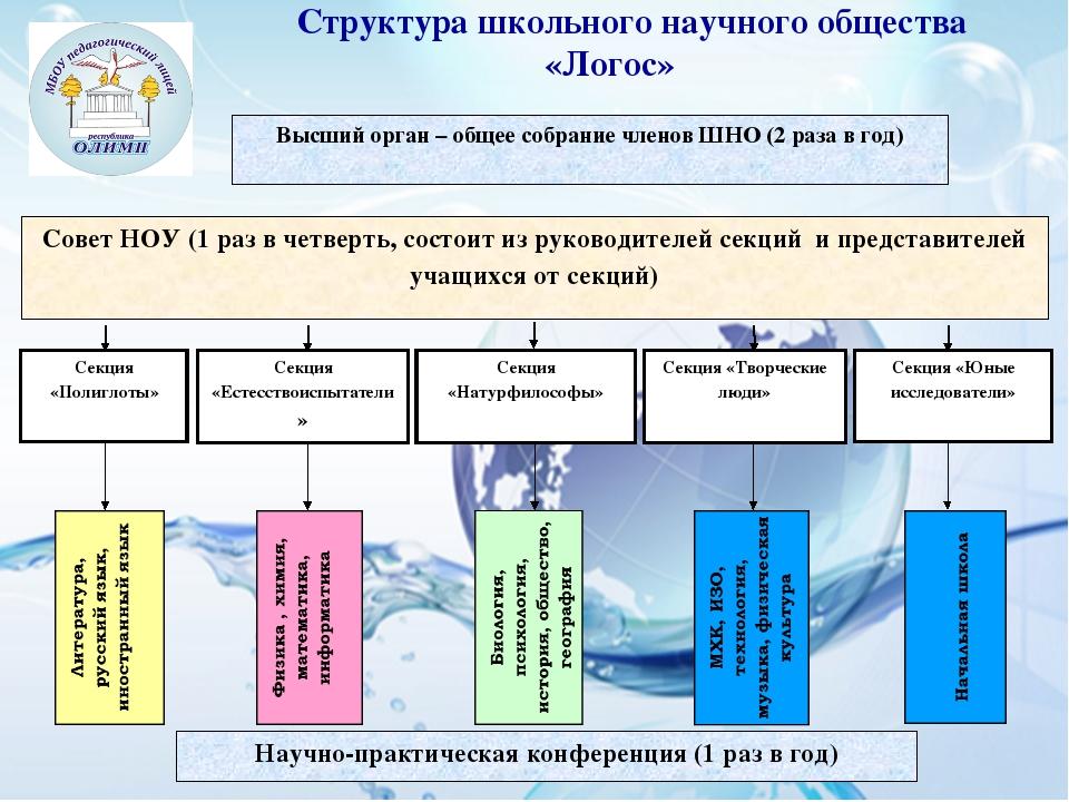 Высший орган – общее собрание членов ШНО (2 раза в год)  Научно-практическая...