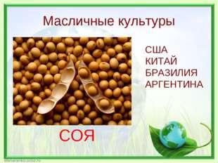 Масличные культуры СОЯ США КИТАЙ БРАЗИЛИЯ АРГЕНТИНА