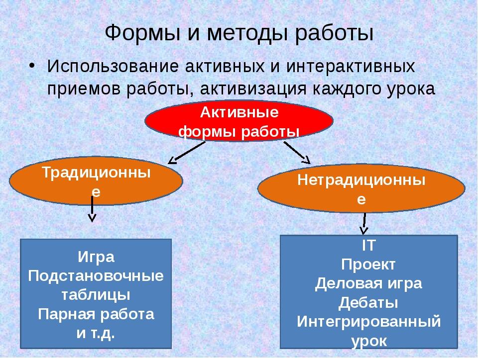 Формы и методы работы Использование активных и интерактивных приемов работы,...