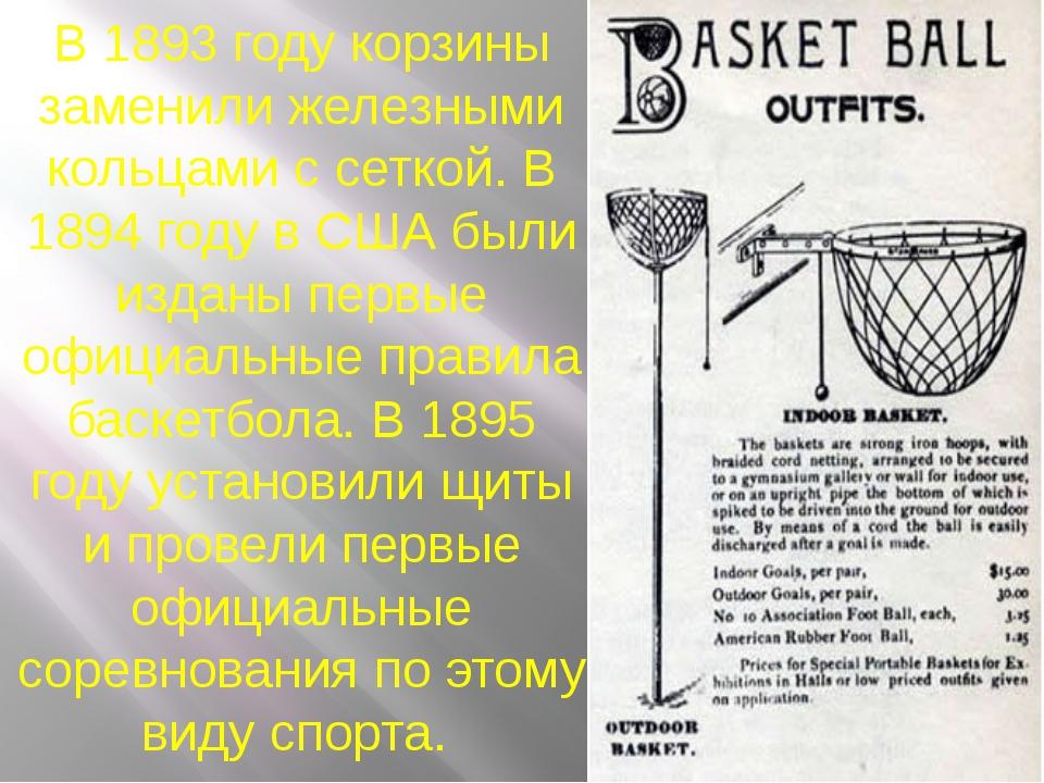 В 1893 году корзины заменили железными кольцами с сеткой. В 1894 году в США б...