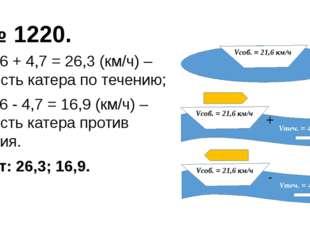 № 1220. + 1) 21,6 + 4,7 = 26,3 (км/ч) – скорость катера по течению; - 2) 21,6