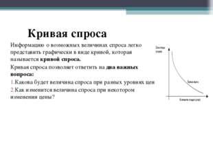 Кривая спроса Информацию о возможных величинах спроса легко представить граф