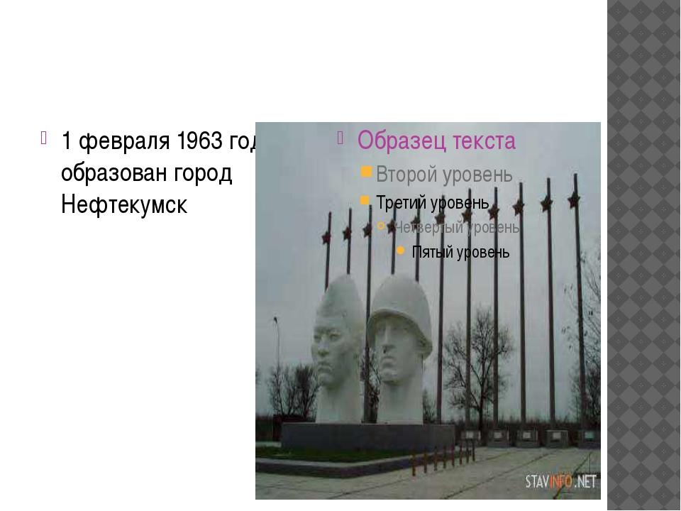 1 февраля 1963 года образован город Нефтекумск
