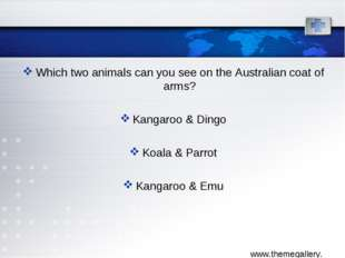 Which two animals can you see on the Australian coat of arms? Kangaroo & Ding