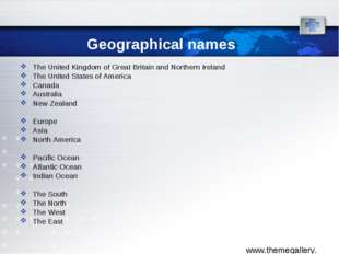 Geographical names The United Kingdom of Great Britain and Northern Ireland T