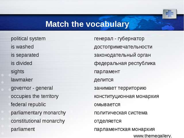 Match the vocabulary political system	генерал - губернатор is washed	достопри...