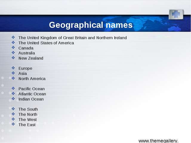 Geographical names The United Kingdom of Great Britain and Northern Ireland T...