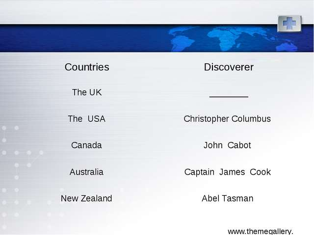 Countries	Discoverer The UK	________ The USA	Christopher Columbus Canada	John...