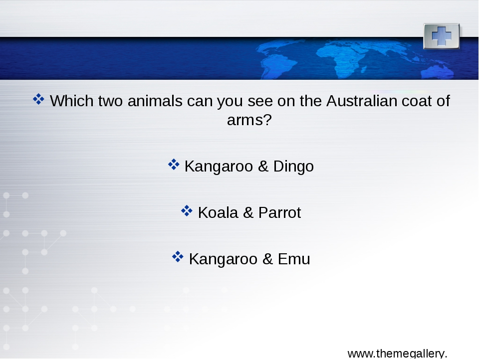 Which two animals can you see on the Australian coat of arms? Kangaroo & Ding...
