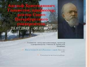 Адольф Христианович Гольмстен, профессор, ректор Санкт-Петербургского универс