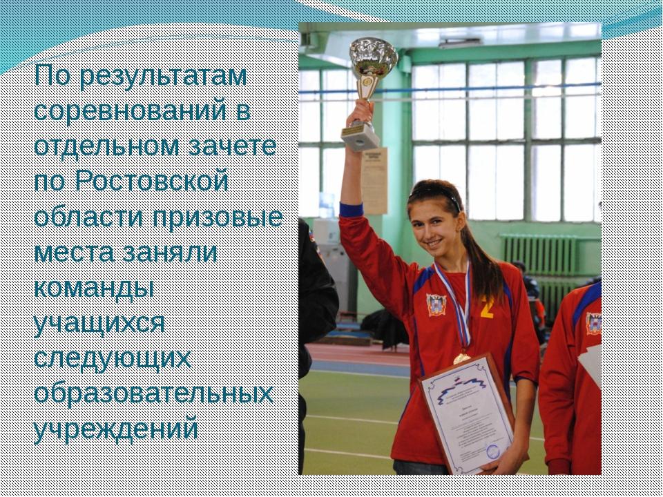 По результатам соревнований в отдельном зачете по Ростовской области призовые...