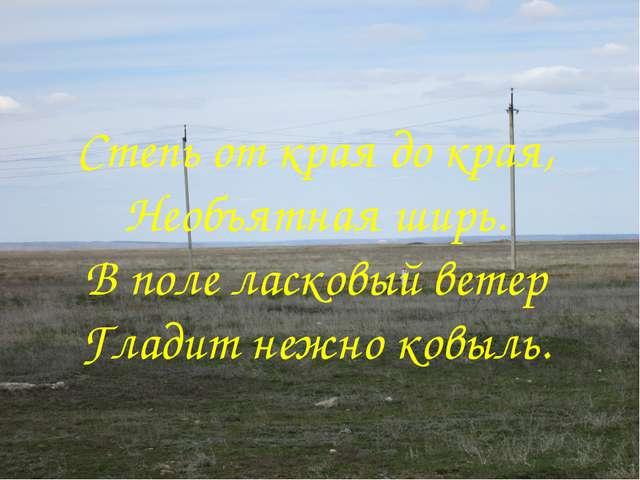Степь от края до края, Необъятная ширь. В поле ласковый ветер Гладит нежно ко...