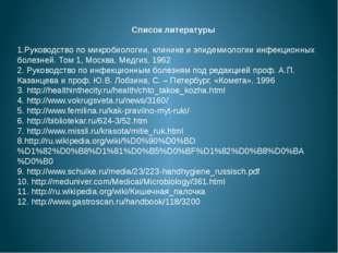 Список литературы 1.Руководство по микробиологии, клинике и эпидемиологии инф