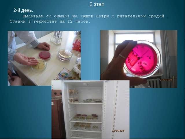 2 этап 2-й день. Высеваем со смывов на чашки Петри с питательной средой . Ст...