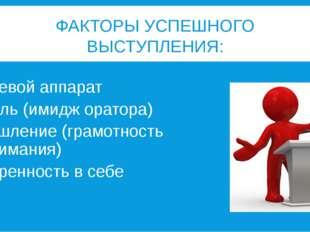 ФАКТОРЫ УСПЕШНОГО ВЫСТУПЛЕНИЯ: Речевой аппарат Стиль (имидж оратора) Мышление