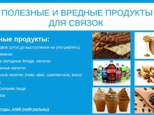 ПОЛЕЗНЫЕ И ВРЕДНЫЕ ПРОДУКТЫ ДЛЯ СВЯЗОК Вредные продукты: Мёд (за двое суток д