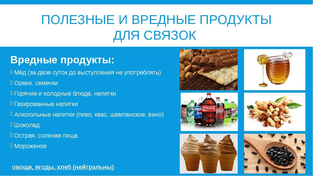 ПОЛЕЗНЫЕ И ВРЕДНЫЕ ПРОДУКТЫ ДЛЯ СВЯЗОК Вредные продукты: Мёд (за двое суток д...