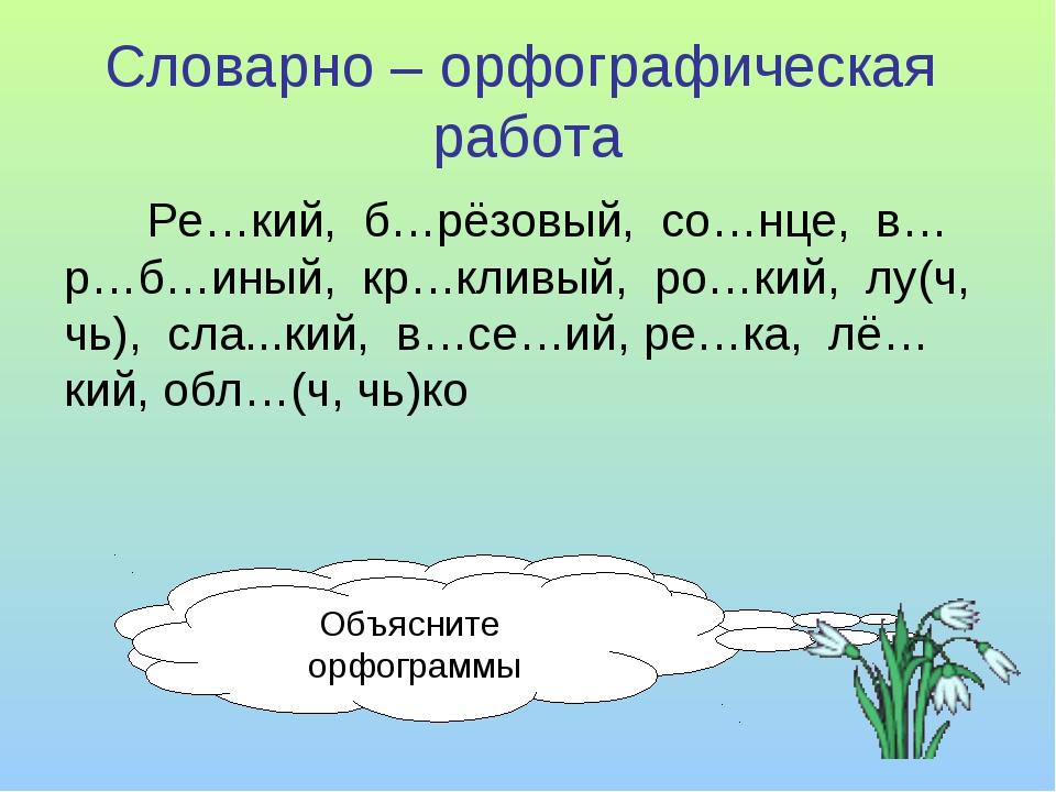 Словарно – орфографическая работа Ре…кий, б…рёзовый, со…нце, в…р…б…иный, кр…к...