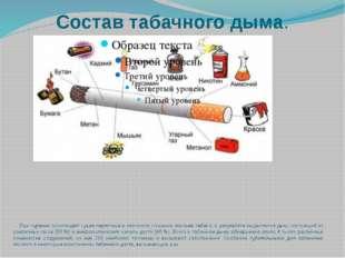 Состав табачного дыма. При курении происходит сухая перегонка и неполное сгор