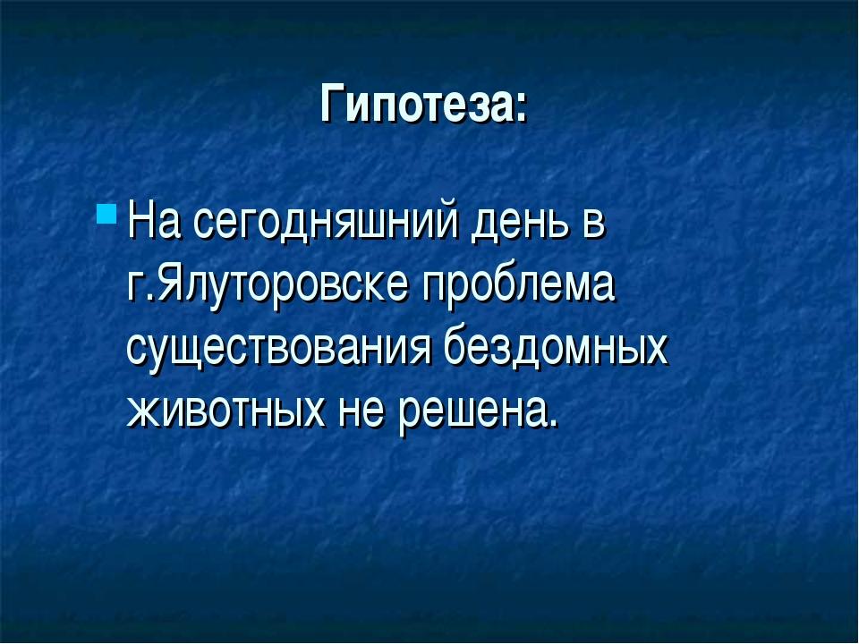 Гипотеза: На сегодняшний день в г.Ялуторовске проблема существования бездомны...
